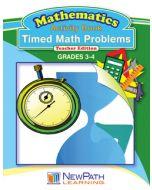 Timed Math Problems Series - Book 1 - Grades 3 - 4 - Downloadable eBook