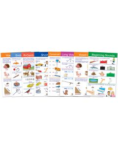 "Decoding & Phonics Bulletin Board Chart Set of 8 - Laminated - ""Write-On - Wipe Off"" - 18"" x 12"""