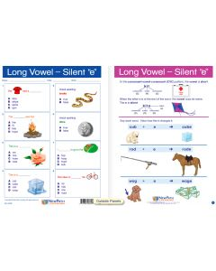 "Long Vowels - Silent ""e"" - Laminated, ""Write-On/Wipe-Off"" Visual Learning Guide Gr. 1"