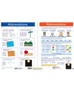"Abbreviations - Laminated, ""Write-On/Wipe-Off"" Visual Learning Guide Gr. 2"