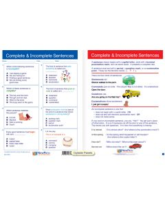 "Complete & Incomplete Sentences - Laminated, ""Write-On/Wipe-Off"" Visual Learning Guide Gr. 2"