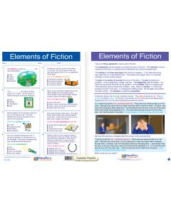 """Elements of Fiction - Laminated, """"Write-On/Wipe-Off"""" Visual Learning Guide Gr. 4"""