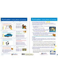 """Punctuation: Ending Marks & Commas - Laminated, """"Write-On/Wipe-Off"""" Visual Learning Guide Gr. 4"""