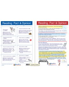 """Reading: Fact and Opinion - Laminated, """"Write-On/Wipe-Off"""" Visual Learning Guide Gr. 5"""