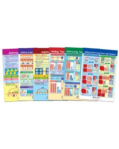 "Addition & Subtraction Number Sense Bulletin Board Chart Set of 6  - Laminated  -  ""Write-On - Wipe Off""  -  18"" x 12"""