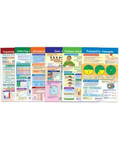 "Data, Graphs and Probability Bulletin Board Chart Set of 6 - Laminated - ""Write-On - Wipe Off"" - 18"" x 12"""