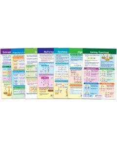 "Algebra Skills Bulletin Board Chart Set of 7 - Laminated - ""Write-On - Wipe Off"" - 18"" x 12"""