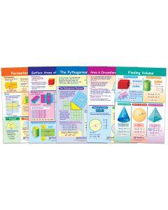 "Perimeter, Circumference, Area & Volume Bulletin Board Chart Set of 5 - Laminated - ""Write-On - Wipe Off"" - 18"" x 12"""