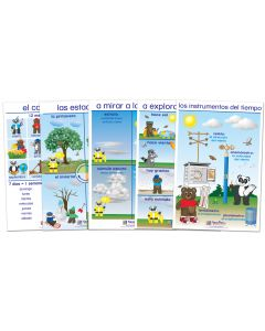 All About Weather Bulletin Board Chart Set of 5 - Early Childhood Spanish Edition