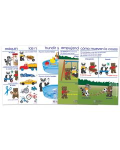Pushing, Pulling & Moving Bulletin Board Chart Set of 5 - Early Childhood Spanish Edition