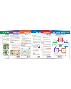 "STEM Engineering Design Process Bulletin Board Chart Set of 6 - Gr. 3-5- Laminated - ""Write-On - Wipe Off"" - 12"" x 18"""